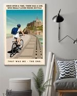 Once upon a time there was a girl who bicycle loved Beaches Poster Canvas