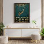 Into The Ocean I Go Spiritual Yoga Sea Water Travel Vintage poster