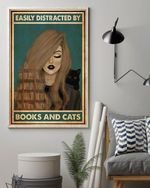 Books Girl Distracted By Books And Cats Poster Canvas