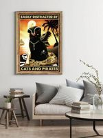 Easily Distracted By Cats & Pirates Black cat poster