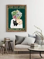 Black Cat And She Lived Happily Ever After Flower Girl Poster