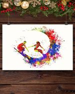 Surfer Couple Watercolour Art Print - Surfer Poster - Surfing Watercolour Print - Water Sports Poster Poster Canvas
