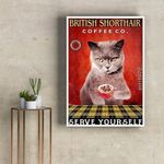 British shorthair Coffee Co serve yourself wall decor poster