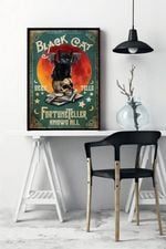 Black Cat Fortune Teller Knows All Wall Decor Poster