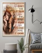 Native Girl Listen To The Wind It Talks Poster, Native American Hippie Girl Poster Canvas