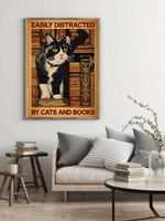 Easily Distracted By Cats & Books Tuxedo Cat Vintage Library Decor Poster