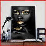 African Queen Woman Tribal Black Wall Poster