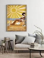 And She Lived Happily Ever After Poster Cat and Beach Retro Home Decor Poster