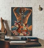 Woman with Guitar Tattoo art music poster