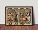 Rabbits Be Strong Brave Humble Badass Nursery Decor Poster
