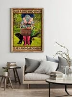 Black Cat Just A Girl Who Loves Cat & Gardening Vintage Wall Decor Poster