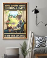 Reading With Cat Vertical Poster, Time Spent With Books And Cats Is Never Wasted Poster Canvas
