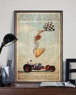 Just A Girl Who Loves Drag Racing Poster Canvas