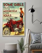 Some Girls Are Just Born With Motorcycle In Their Souls Biker Lady Poster Canvas