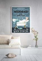 Mermaid & Co Bath Soap Wash Your Tail Bathroom Decor Poster