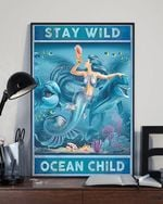 Mermaid Swimming Stay Wild Moon Child Vintage Poster Hippie Mermaid Poster Canvas