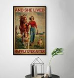 Horses and Dogs And She Lived Happily Ever After Vintage poster