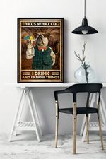 That's What I do I Drink And I Know Things Bulldog Home Decor Poster
