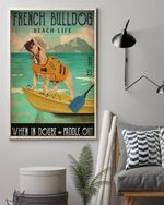 French Bulldog Beach life Poster Canvas