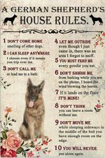 A german shepherd's house rules poster canvas