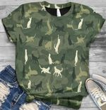 Naughty cats in army style all printed tshirt