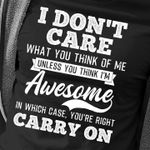 I don't care what you think of me unless you think i'm awesome in which case you're right carry on shirt