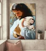 Jesus carry a english bulldog god lovers poster