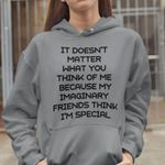 It doesn't matter what you think of me because my imaginary friends think i'm special hoodie