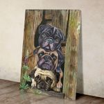 Cute pugs poster canvas