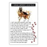 A german shepherd's house rules poster