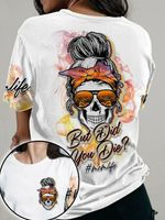 But did you die sunflower skull lady t-shirt
