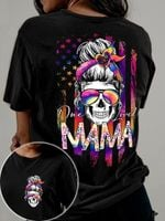 One Loved Mama Skull Lady American Flag Shirt