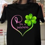 I'm in a breast cancer survivor heart t-shirt