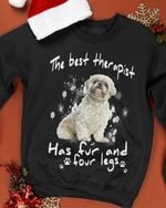 The best therapist has fur and four legs Shih tzu tshirt