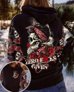 Zero f*cks given skull roses hoodie