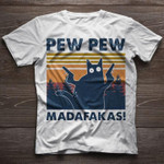 Cat pew pew madafakas funny retro shirt