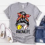 #momlife lady baseball sports t-shirt