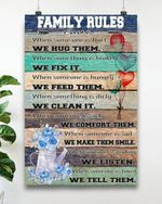 Family rules poster canvas