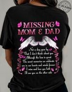 Missing mom & dad angel wings t-shirt