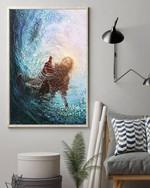 Jesus gives hand under water god savior poster