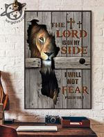 Lion the lord is on my side i will not fear psalm 118 1 jesus god poster