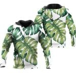 Tropical Seamless Pattern With Green Jungle Palm Leaves Plants White