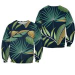 Tropical Seamless Pattern With Summer Two Mixed-Color Leaves Black