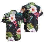 Tropical Seamless Pattern With Colorful Floral Palm Leaves Black