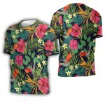 Tropical Seamless Pattern With Hibiscus Flower Jungle Palm Leaves Black 1