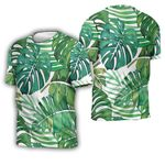 Tropical Seamless Pattern With Green Jungle Palm Leaves Plants White 1