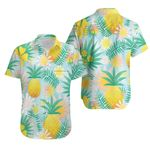 Tropical Seamless Pattern With Yellow Pineapple Leaf Green Jungle Palm Leaves White
