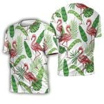 Tropical Seamless Pattern With Pink Flamingo Tropical Jungle Palm Leaves White