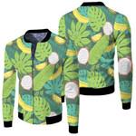 Tropical Seamless Pattern With Pitaya Banana Orange Fruits Jungle Palm Leaves Plants Dark Tropical Beach Summer