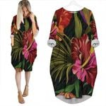 Tropical Seamless Pattern With Colorful Hibiscus Tropical Jungle Palm Leaves